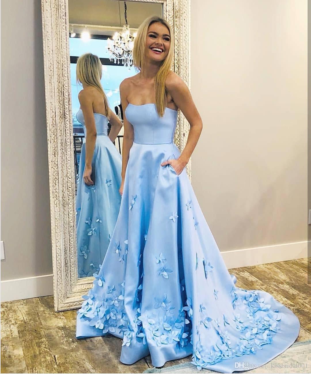 Светло-голубые платья выпускного вечера с цветами ручной работы Vestidos de Fiesta без бретелек атласные вечерние платья длинное вечернее платье коктейль бальное платье