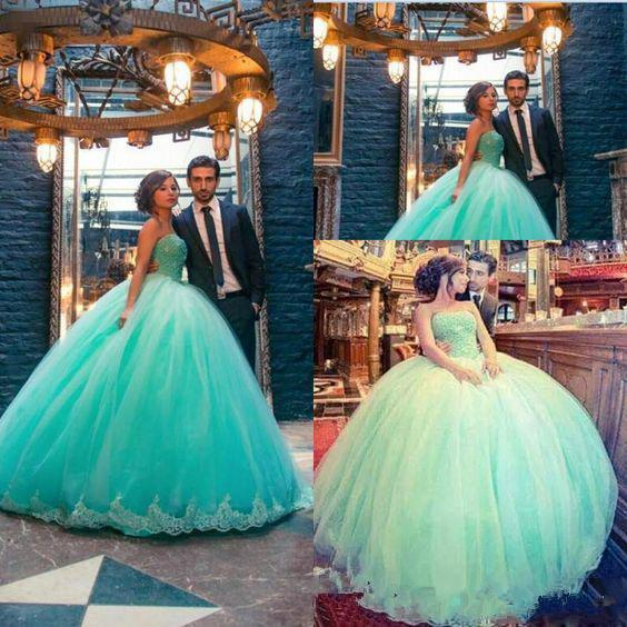 Mint Green Quinceanera Dresses vestidos de 15 anos Sweetheart Appliques Lace Ball Gown Sweet 16 Dresses Plus Size Prom Dress For Pageant