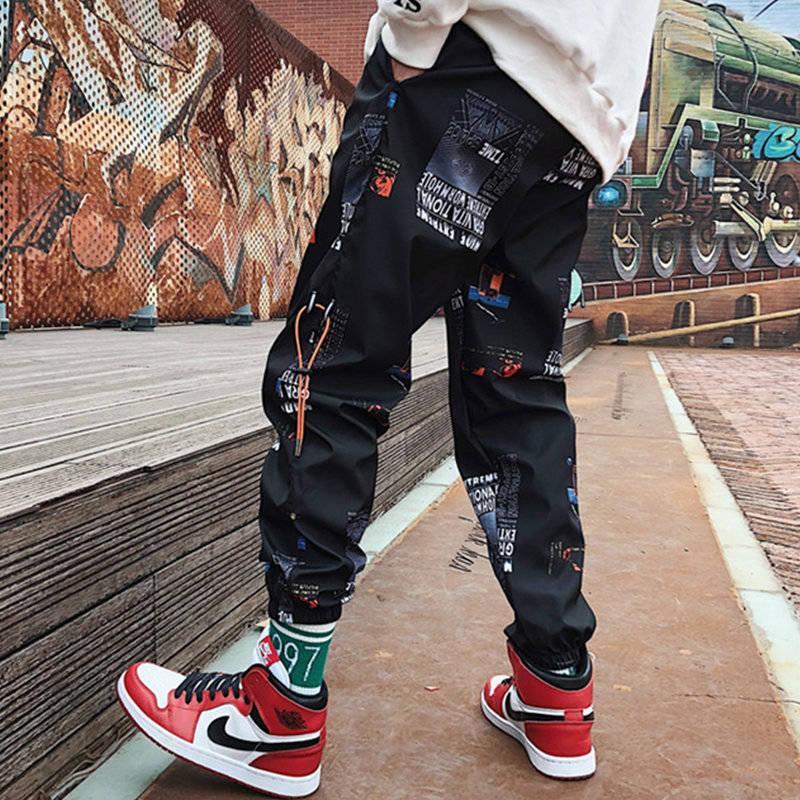 Songsanding Pants Hip hop homens soltos Corredores Imprimir Streetwear Harem Pants comprimento Roupa tornozelo Calças M-3XL