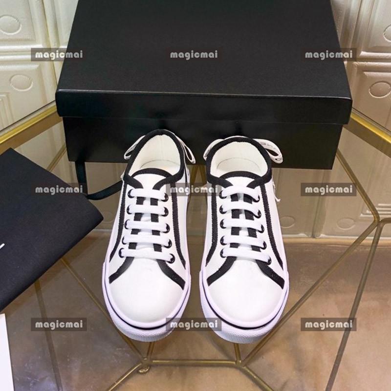 Zapatos para niños lienzo blanco y negro cola de la cinta de la zapatilla de la zapatilla de la zapatilla de la zapatilla de la zapatilla de la zapatilla de la zapatilla con la caja con la caja de alta calidad de zapato