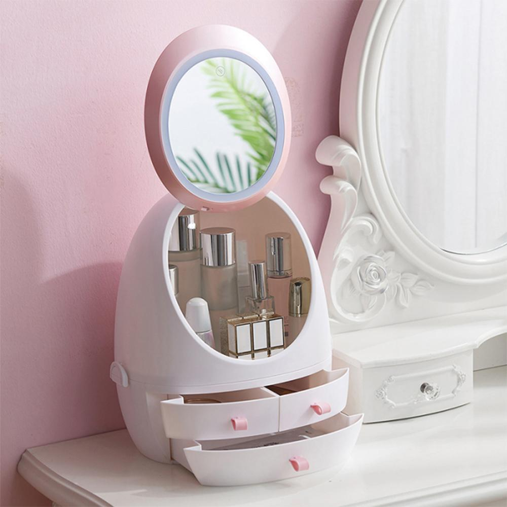 USB Cosmetic Storage Box with LED Light Makeup Mirror Cosmetics Skin Care Products Drawers Holder Portable Organizer Container T200114