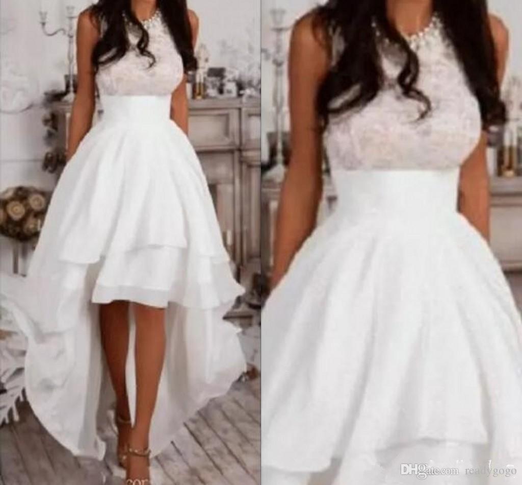 고 (High) 저 (Low) 비치 웨딩 드레스 2019 페르시 보석 목 레이스 쉬폰 하이 - 로우 짧은 컨트리 가든 웨딩 리셉션 비공식 웨딩 드레스
