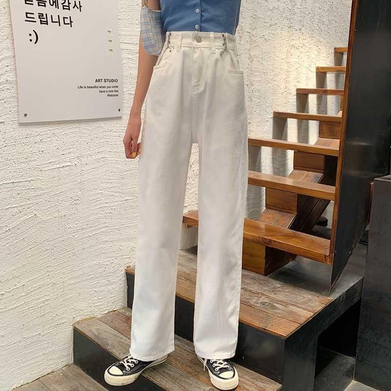 GUUZYUVIZ Black Denim Jeans para las mujeres de cintura alta pierna ancha pantalones vaqueros de las señoras Pantalones de Corea 2020 pantalones Jean Femme tamaño grande de Vestidos