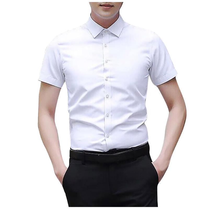 2020 패션 여름 남성 T 셔츠 플러스 사이즈 솔리드 슬림 셔츠 버튼 짧은 소매 캐주얼 T 셔츠는 높은 품질 패브릭 # 0520g30 탑
