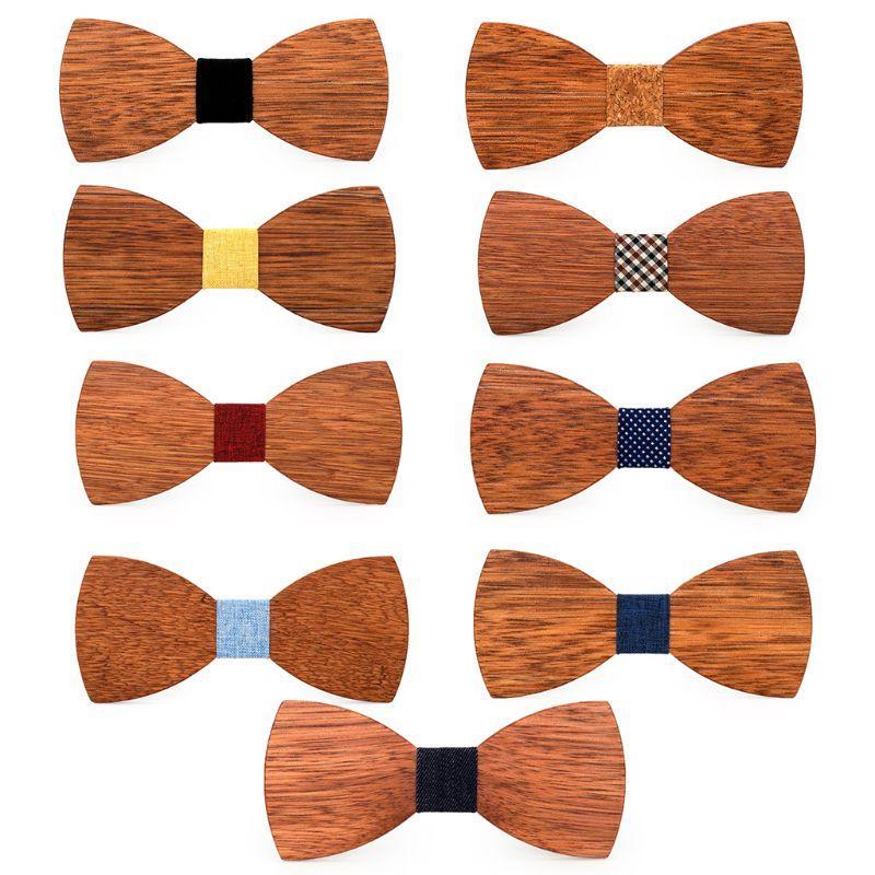 Pajarita de los hombres de alta calidad de madera pajaritas Clásico visita de la mariposa del color sólido de la madera
