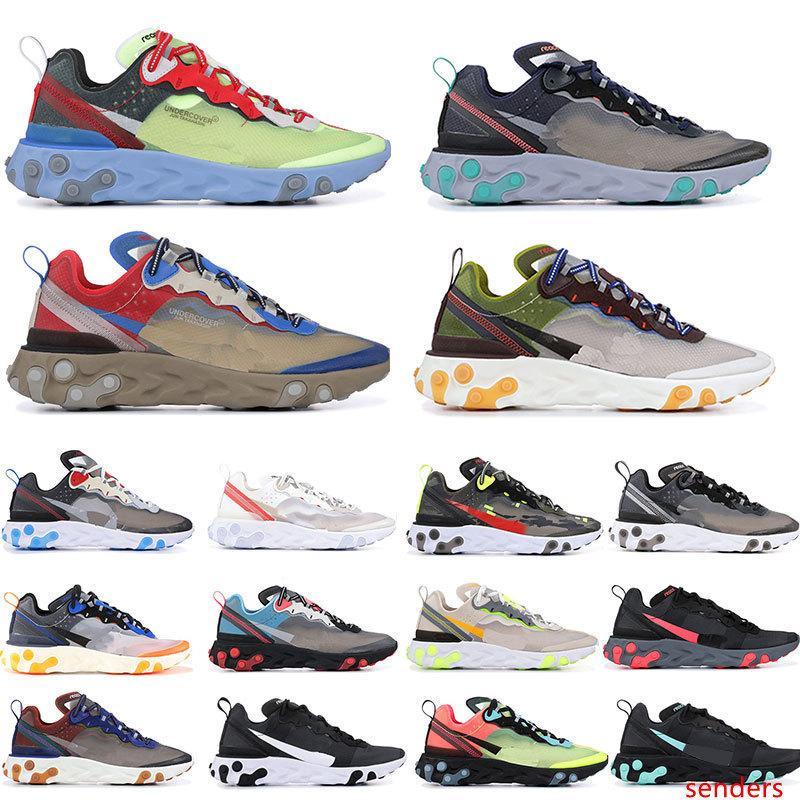 Reaccionar Elemento 87 Sombras de los zapatos corrientes de vela ligera hueso azul Chill solar antracita Negro Diseñador Tamaño Deportes zapatillas de deporte 36-45