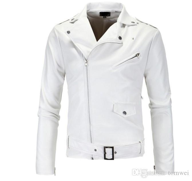 hommes biker moto veste en cuir printemps manteaux hommes faux cuir veste coupe-vent coupe-vent imperméable manteau 2019 nouvelle mode blanc