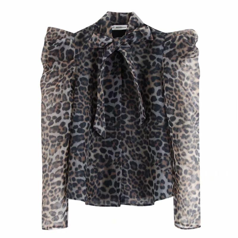 Yeni kadın bağbozumu puf kollu hayvan doku baskı organze kimono bluz gömlek kadın pruva leopar blusas LS6014 şeffaf başında
