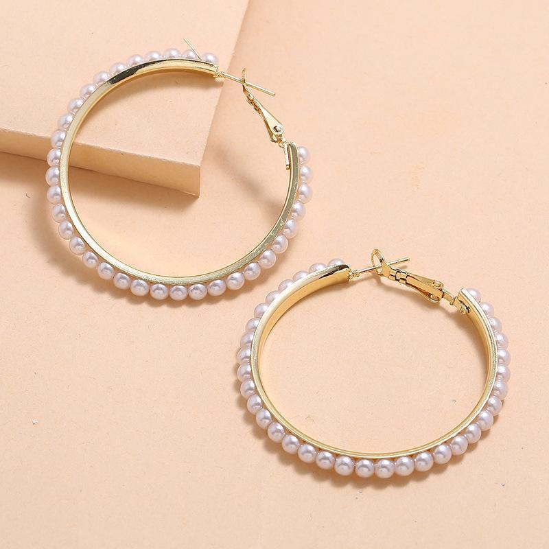 Nuova Moda francese annata Esagerato Circolo di personalità semplice perla orecchini a cerchio per i monili delle donne delle ragazze Big Orecchini