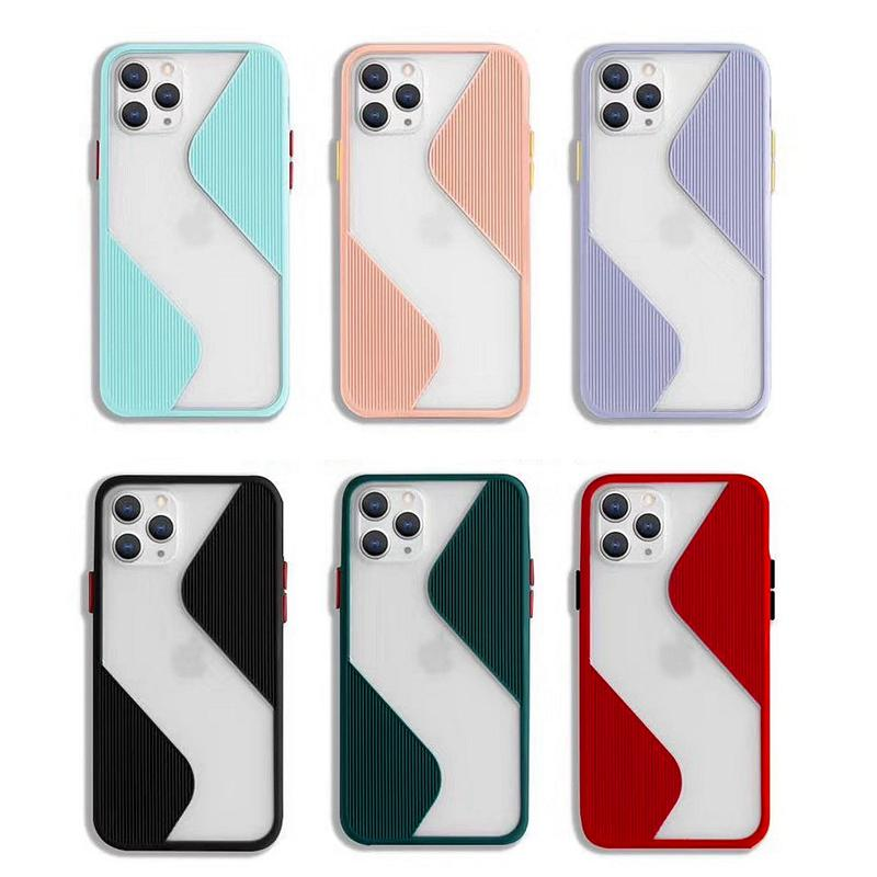 New S shaped cell phone case for Iphone 11 pro x xr xs max 8 7 6 se 2020 tpu cover contrast color key Slim designer case