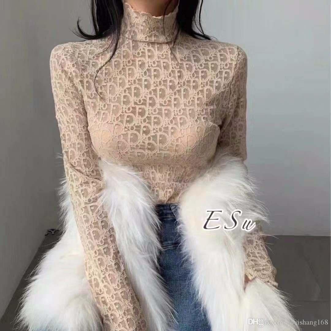 Lace base design women's top web celebrity the same fairy high collar temperament lace base blouse women's top sexy fashion