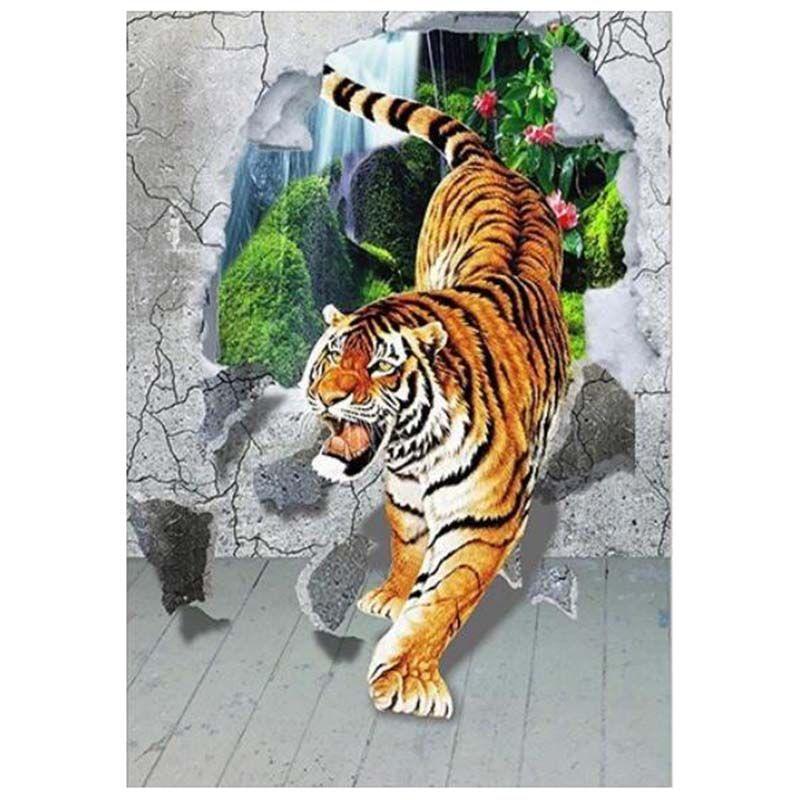 """Dpsprue Full Square / Round Drill 5D DIY Алмазная картина """"Animal Tiger"""" 3D Вышивка крестиком Мозаика Горный хрусталь Подарок для домашнего декора 18"""