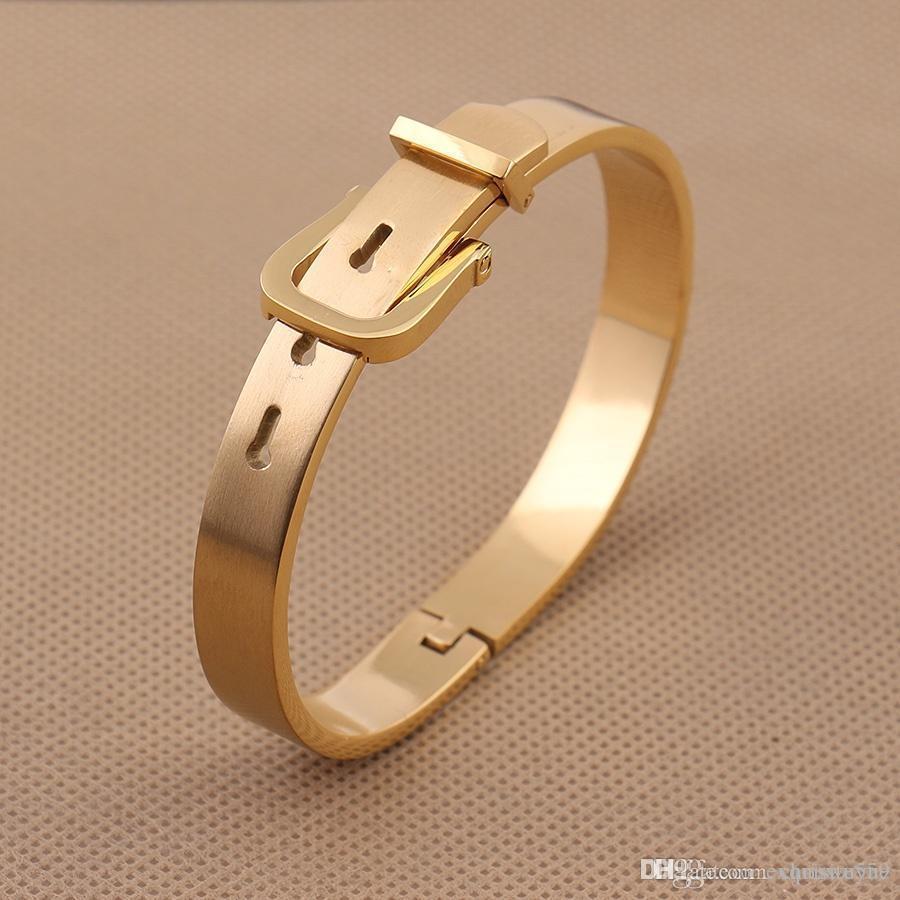 Simple Fashion Belt Buckle Titanium Steel Couple Bracelet The Luxury Elegant Women's Men's Bracelets Can Be Adjustable WB54