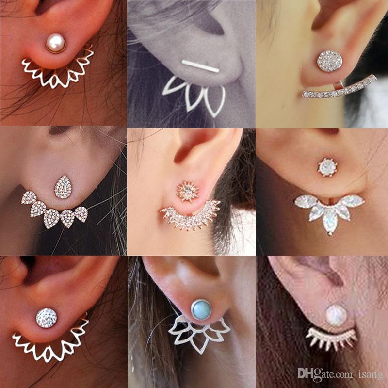 Luxury Designer Jewelry Women Stud Earrings Diamond Paved Ear Jacket Earring Luxury Jewelry Accessories For Girl Women