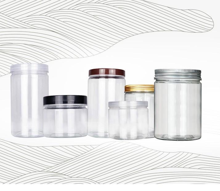 250 ml 350 ml Şeffaf Küçük Plastik Pet Kavanoz Alüminyum Kapak Temizle Boş Kozmetik Örnek Kavanoz Stokta