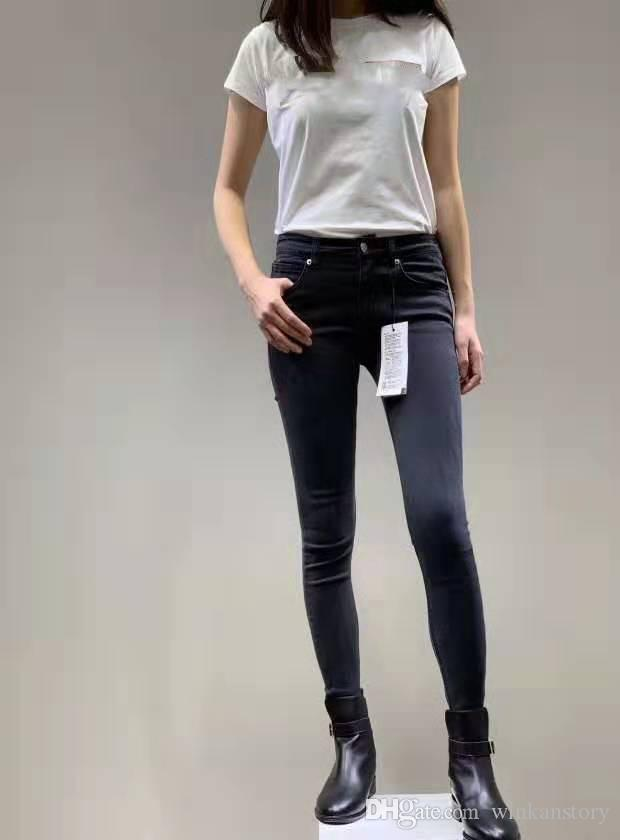 Mulheres Skinny Jeans rasgado Design A religião Marca Denim Pants Calças Mulher Fit Streetwear longo lápis Vestuário Jeans Senhoras