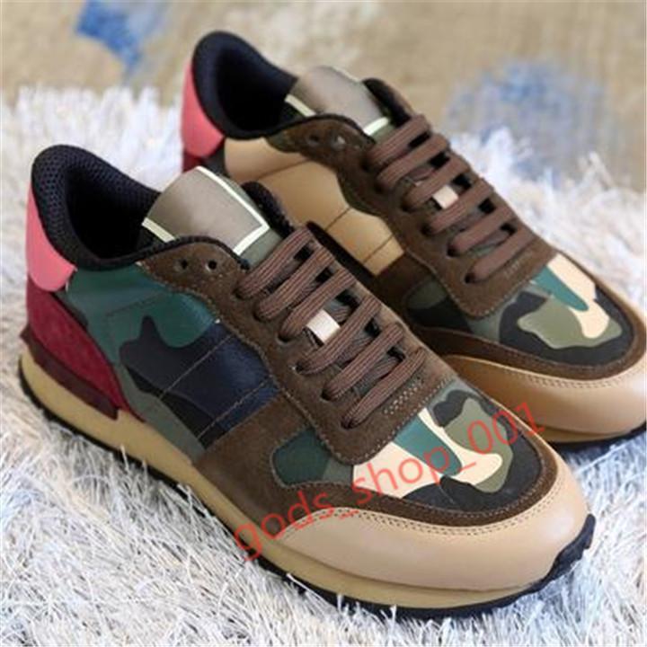 Valentino shoes 2020 Hococal новые мужские и знаменитые туфли женские кожаные Xshfbcl камуфляж бренда спортивной обуви моды резиновые заклепки белые ботинки много цветов