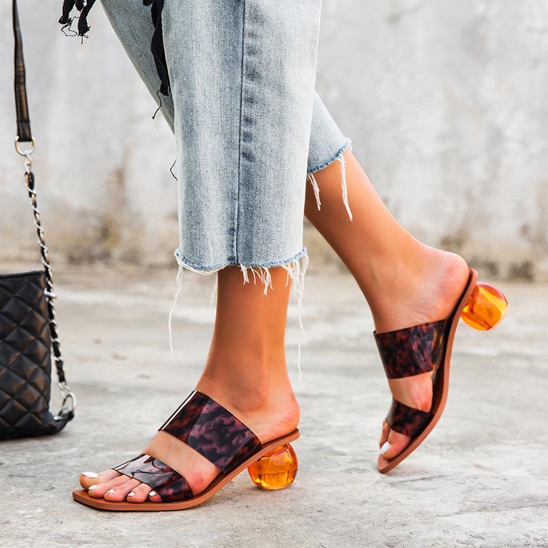 Big Size EU43 Cancella le dita dei piedi sandali femminili Roune tallone pantofole punta quadrata pattini di estate di modo della donna partito delle signore del sandalo diapositive DX55
