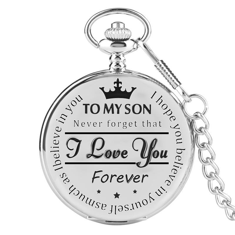 고유 내 아들 조각 말씀 석영 회중 시계 남성 로마 번호 FOB 시계 체인 시계 생일 크리스마스 선물