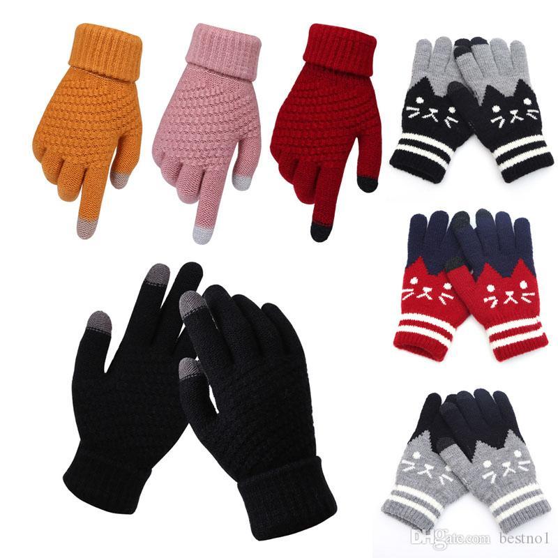 Frauen-Mann-Winter-Screen-Handschuhe Warm Stretch gestrickte Handschuhe Vollfinger Schwarz Weiß Handschuhe Skifahren