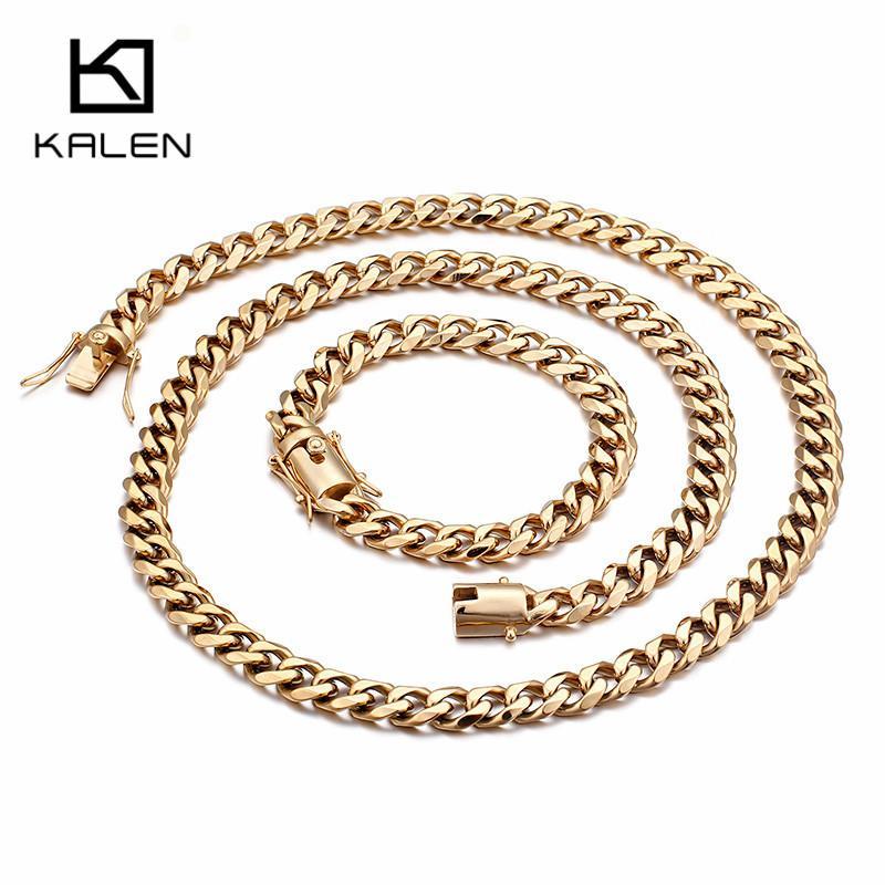 Conjuntos de joyería de acero inoxidable Declaración de oro para la cadena larga Collares cadena de acoplamiento de los hombres de moda 76cm La joyería de las pulseras