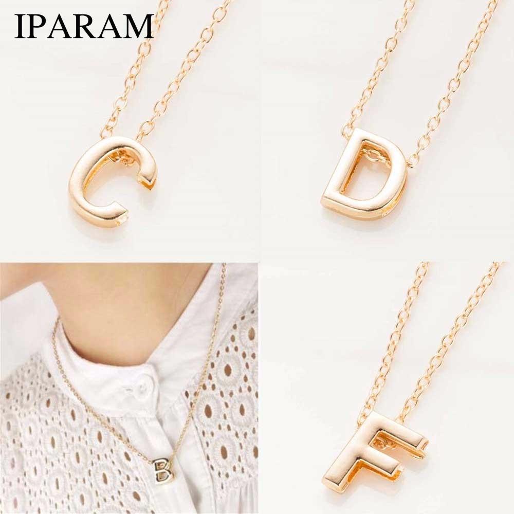 IPARAM 2019 nueva venta caliente de moda de Aleación de Metal de Las Mujeres Nombre de la Letra DIY Enlace Inicial Cadena Encanto Colgante Collar N125