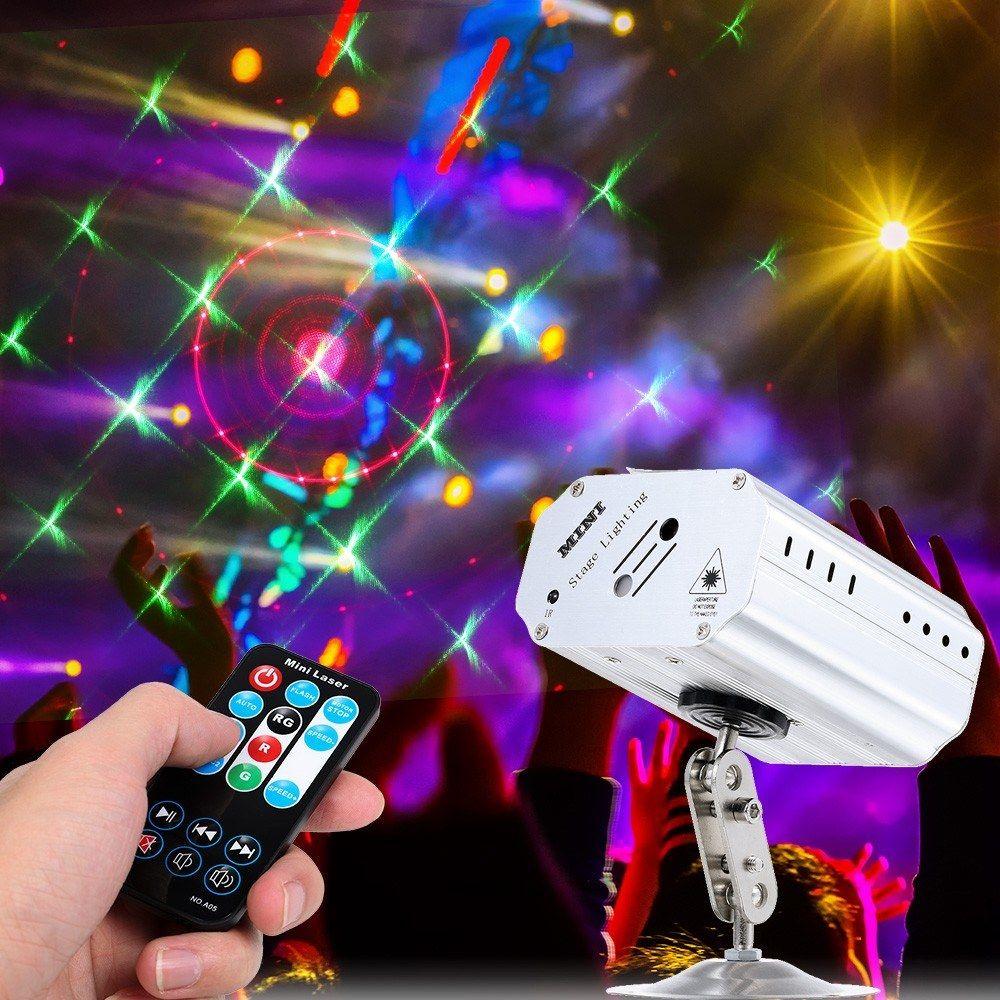 미니 휴대용 LED 레이저 프로젝터 무대 조명 자동 음성 디스코 DJ KTV 홈 파티 크리스마스에 효과 라이트 램프를 활성화