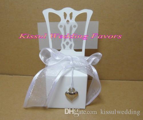 Миниатюрный белый стул свадьба пользу коробка с серебряными украшениями для конфеты подарочная коробка и Партия подарочные коробки сувениры 100 шт. / лот