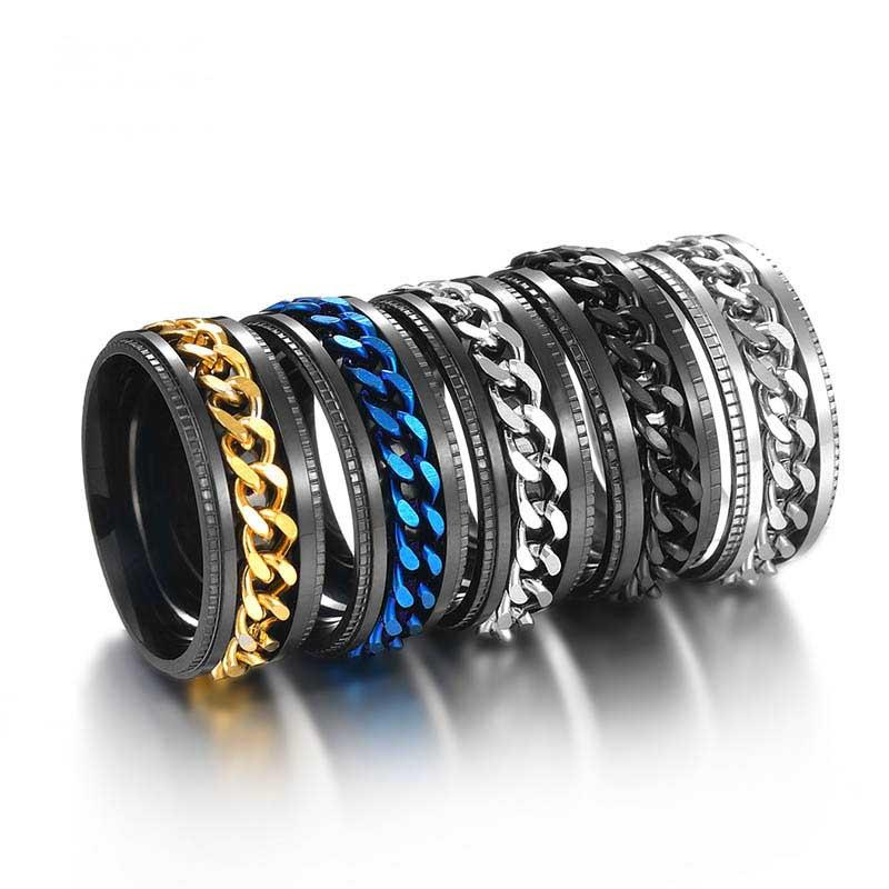 Stainless steel spin rotate chain ring relieve pressure gold chains mens rings jewelry will and sandy fashion jewelry