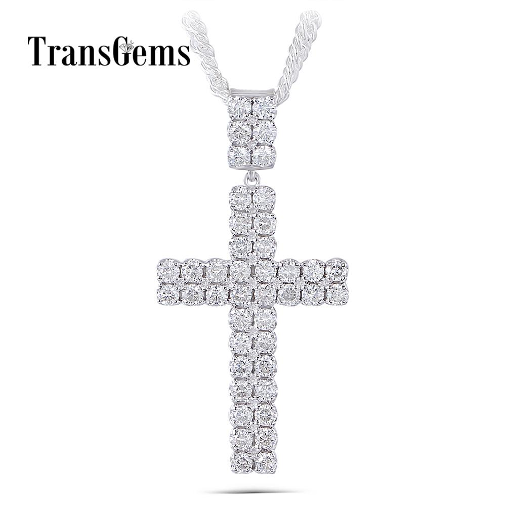 Transgems Cross Shaped Pendant Necklace For Men Platinum Plated Silver Clear H Color Moissanite Men Cross Necklace Y19032201