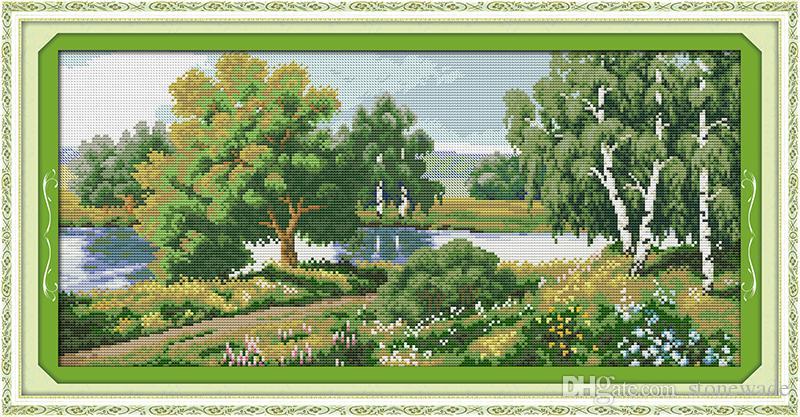 Árvores ao longo do rio paisagem pintura de decoração para casa, Handmade Cross Stitch Bordado conjuntos de costura contados impressão sobre tela DMC 14CT / 11CT