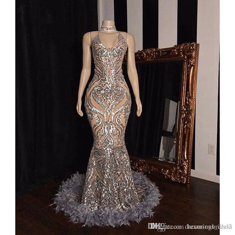Sliver sirène Robes de bal Nouveau manches Halter cou plume Sparkly pailletée parole longueur de partie de robe de soirée formelle Robes