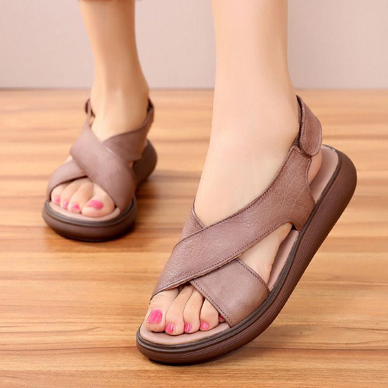 vendite calde di moda estate annata Genuine Leather piani della piattaforma donne dei sandali 2020 gancio e anello Croce Strap Sandali piatti donna