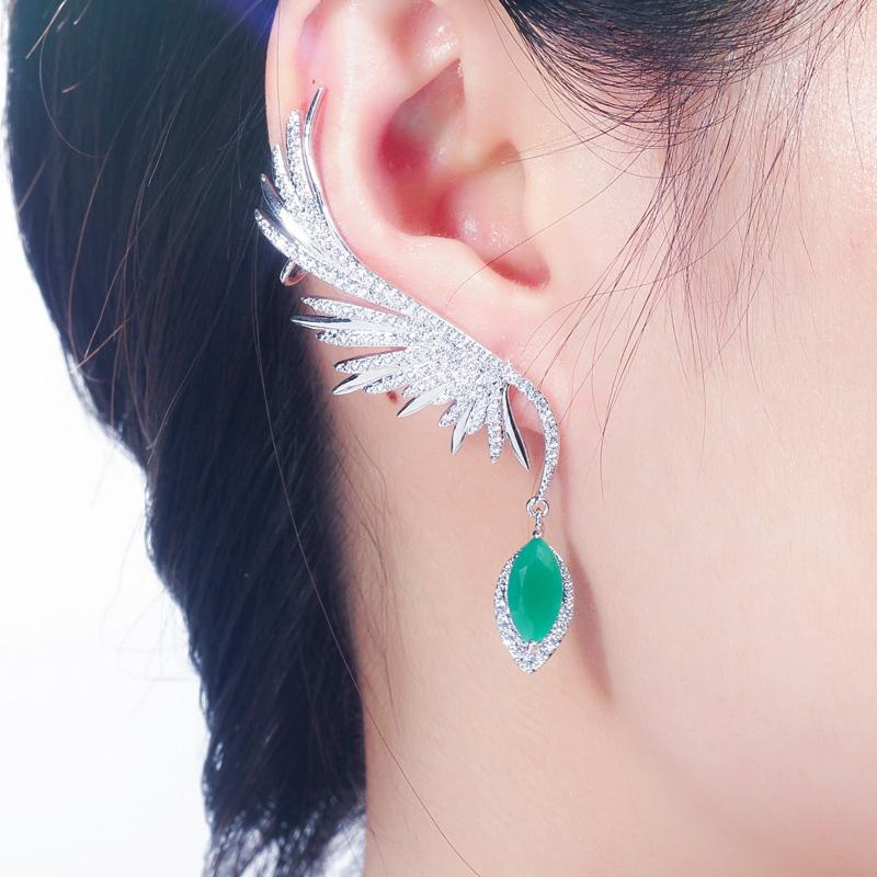 CWWZircons Full Cubic Zirconia Pave Popular Big Long Drop Feather Wing Ear Cuff Earrings for Women CZ625