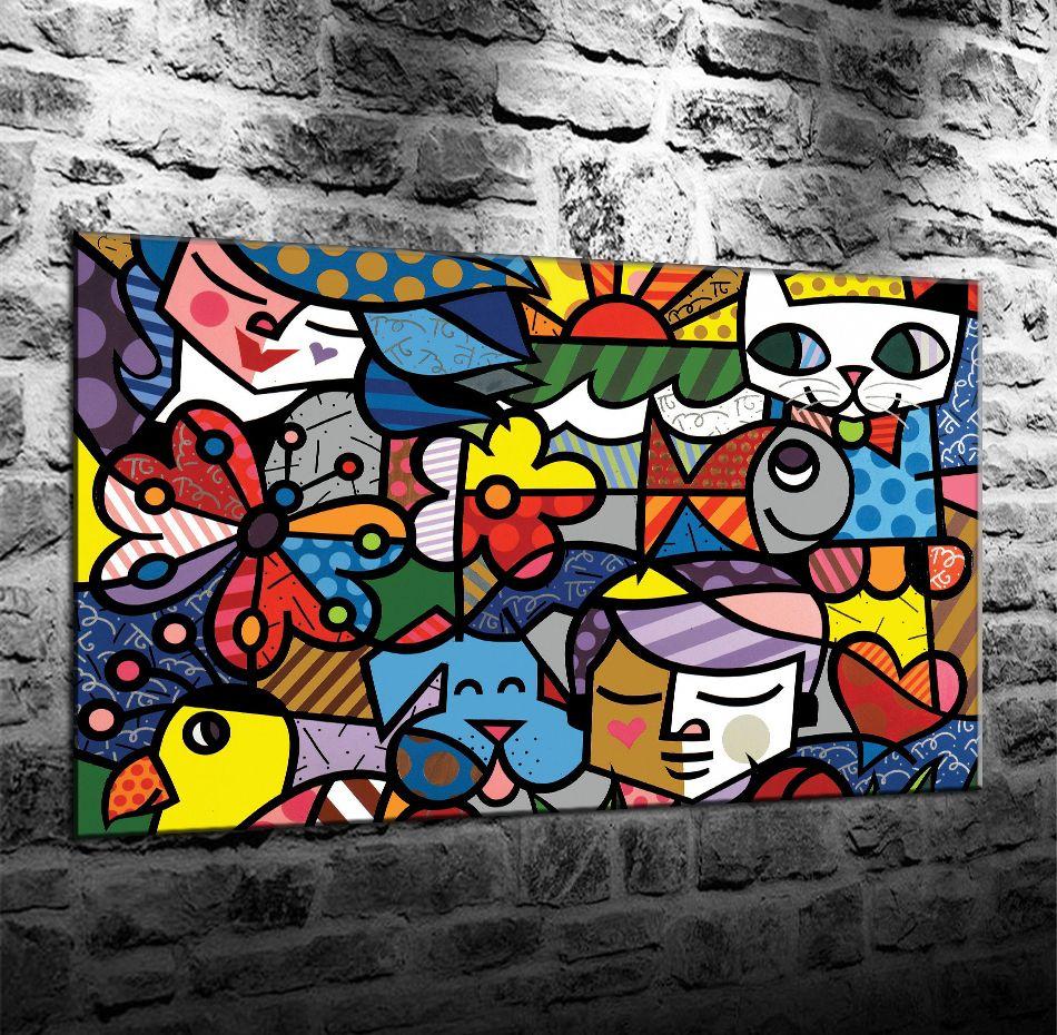 Romero Britto Colorido Fondo abstracto de arte, Impresión en lienzo HD Nueva decoración del hogar Arte Pintura / (Sin marco / Enmarcado)