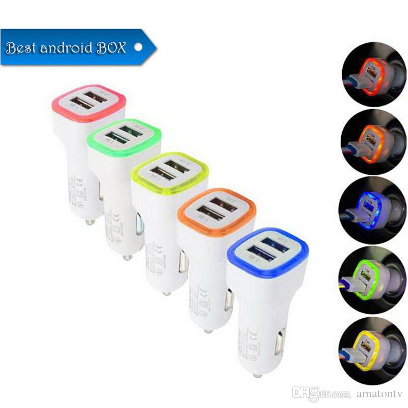 Car Chargers Dual USB Ports Speed LED Light Charging Adapter Universal For Samsung S9 S10 S8 iPhone XR XS MAX Cellphone