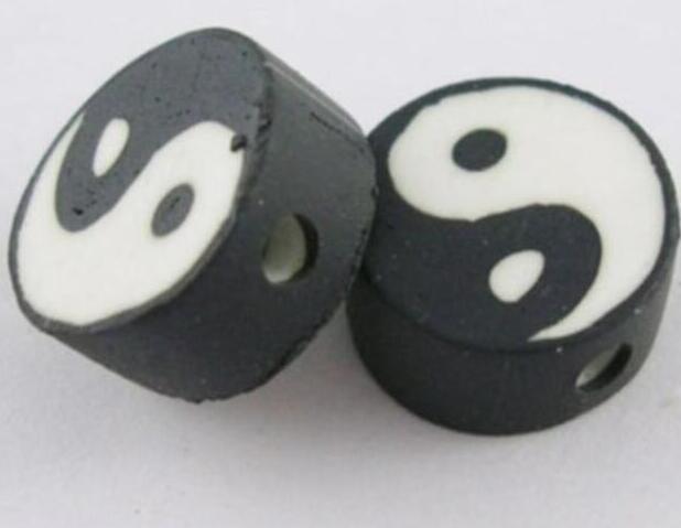 Vintage Yin Yang Siyah Beyaz Polimer Kil Düz Yuvarlak 10mm Boncuk Charms kolye İçin Takı Yapımı Bilezik Aksesuar Takı BFF 200pcs