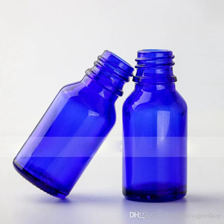 Glass Blue Bottles 15ml E Liquid Dropper Empty Container With Gold Silver Black Cap For Essential Oil