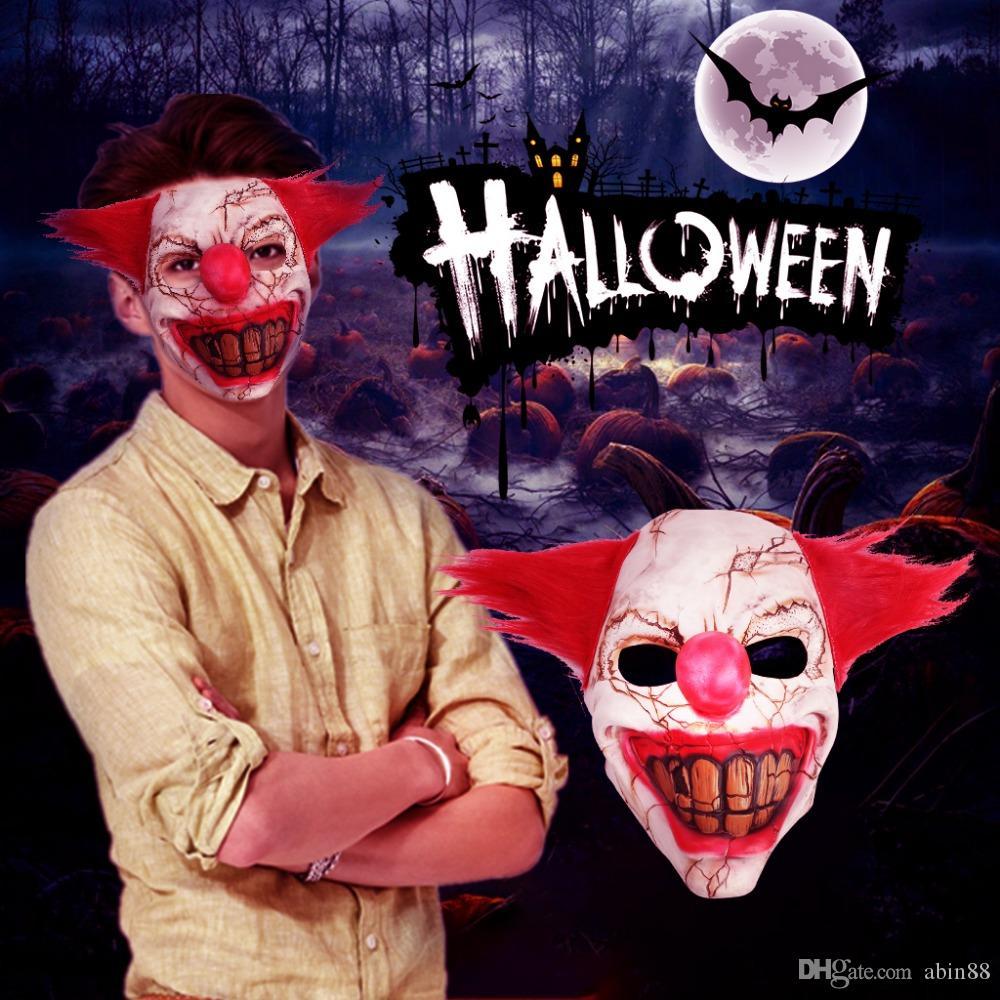 New Halloween Latex Mask Horrible Scary Rotten Face Clown Mask Adult Men Latex Red Hair Halloween Clown Evil Killer Demon Clown Mask