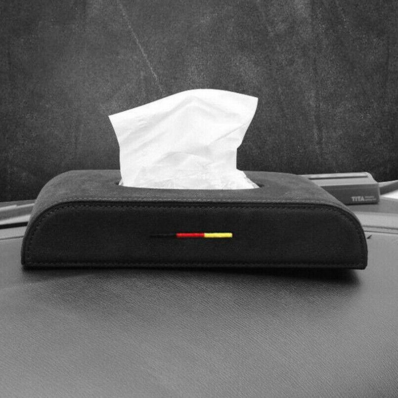 1pcs Nouveau noir mat tissu de voiture en cuir Boîte Accoudoirs Boîte type de papier couverture de serviette