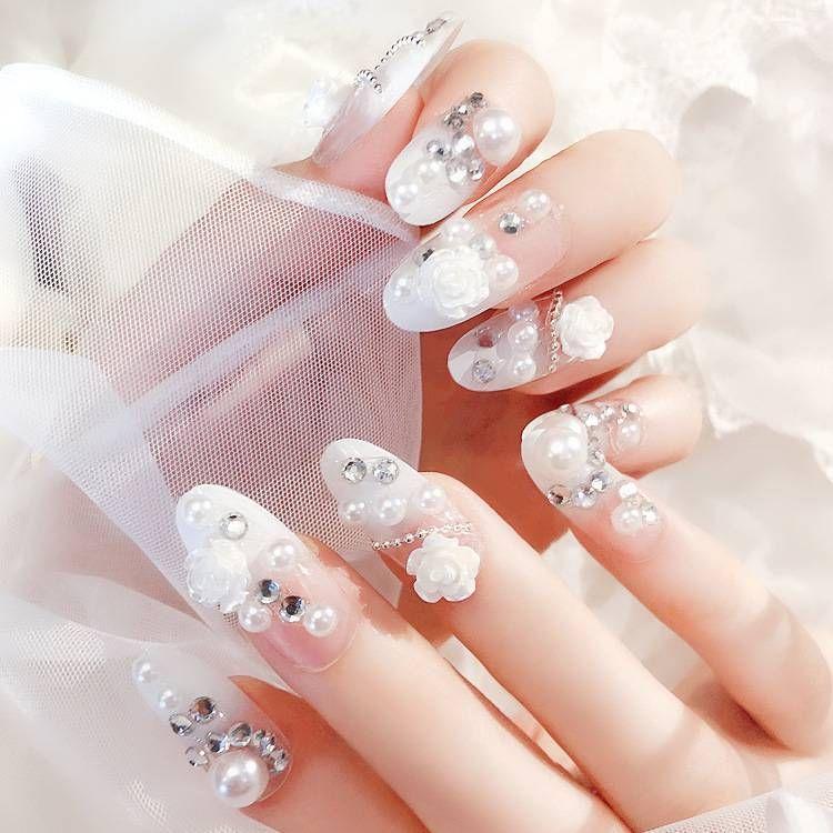 24pcs ongles artificiels de mariage 3d fleur strass perlé presse sur les ongles avec autocollant de colle photothérapie de mariée longue fausse