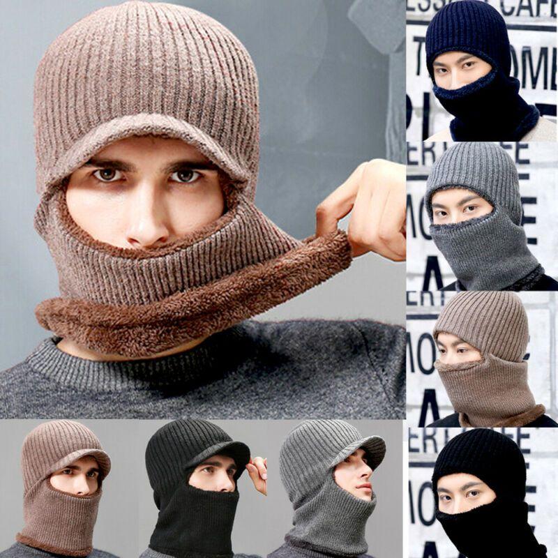 Hiver thermique Fleece Balaclava Hat hommes ski visage cou chaud de ski Bonnet Cap Outdoor laine tricotée neige Chapeau Foulard Gary Bleu Noir
