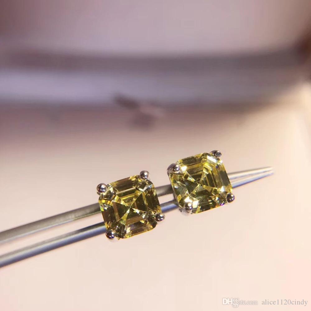 Kadınların düğün takı için 925 Gümüş Sarı Moissanite elmas saplama Küpe moda kristal taş taş kare şeker küpe