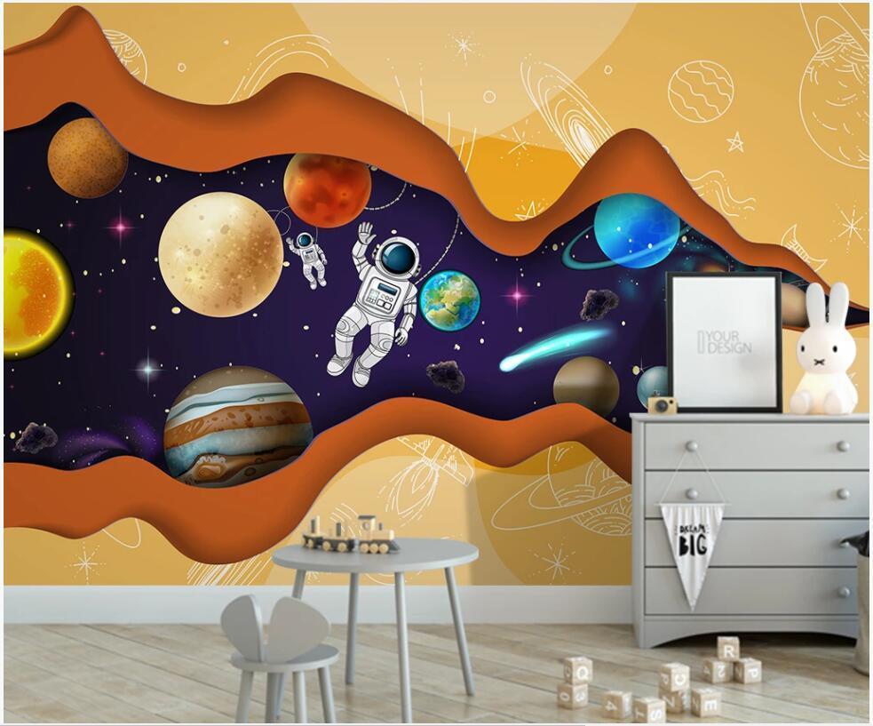 La foto de encargo del papel pintado 3D estrellada ciencia y la tecnología cielo astronauta sala de decoración para el hogar viven fondos de escritorio habitación de los niños de dibujos animados para las paredes 3 d