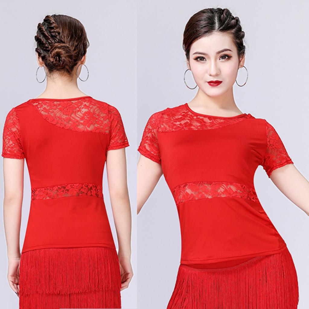 Womens Lace Hollow Latina Ballroom Dance Competition Top Costume Gonna