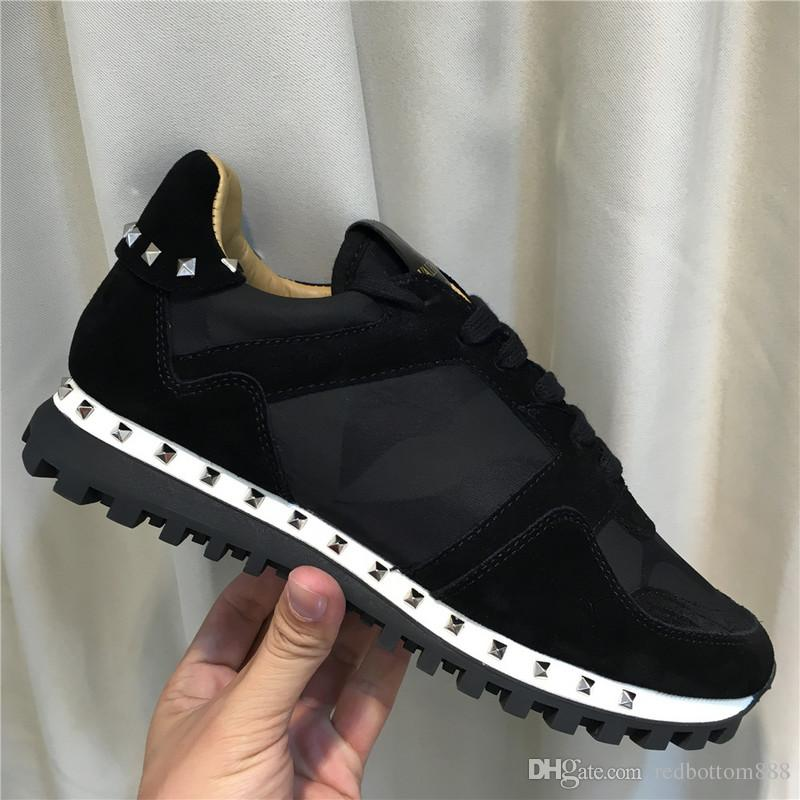 [Original Box] camo suede studded camouflage rock runner sneaker shoes for women,men stud casual cheaper sale EU36-46