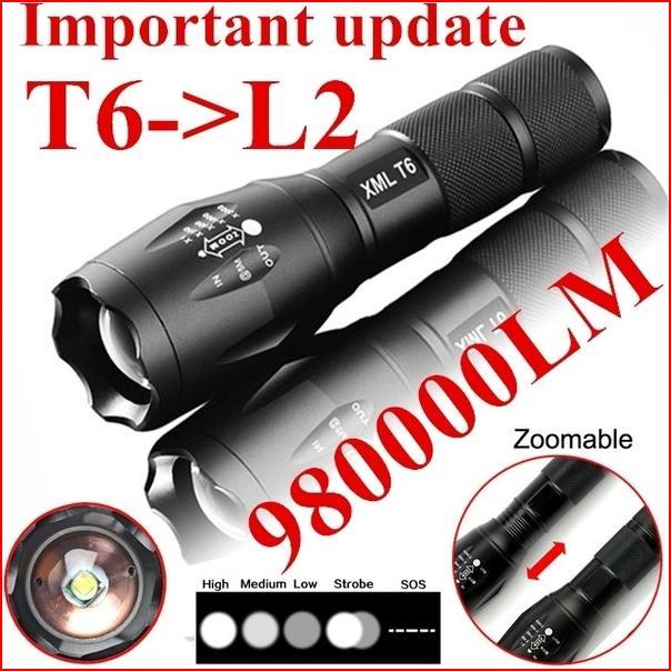 Фонари 980000LM Масштабируемые 5-Mode Cree XML T6 5000Lm High Power LED Увеличить Тактический светодиодный фонарик факел фонарь Путешествуйте налегке
