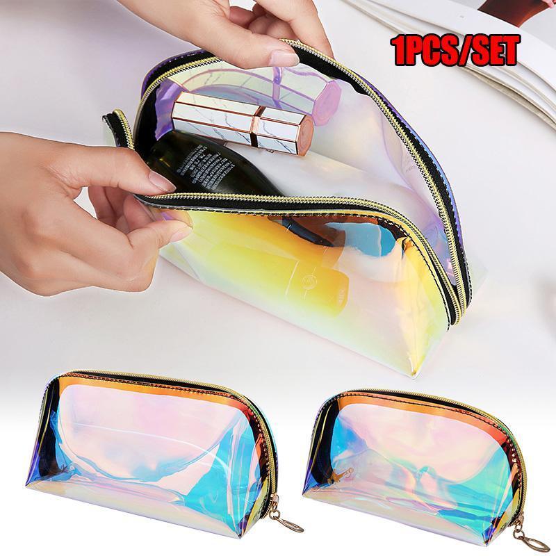 Sac olographe Maquillage Organisateur clair transparent grande capacité cosmétique Pochette de toilette Bolsas C55
