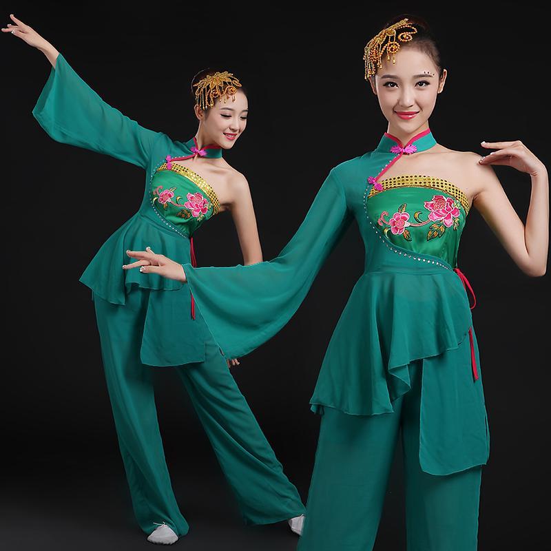 Estágio desgaste de alta qualidade Yangko dance traje clássico canções femininas quadrado estilo chinês estilo adulto conjunto