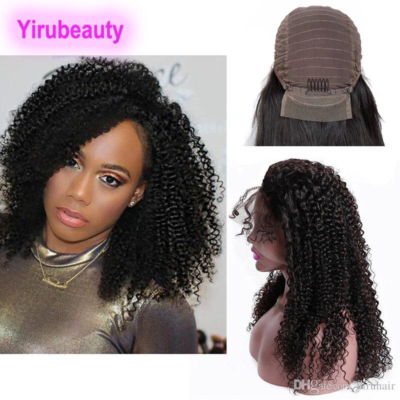 Brasilianisch unverarbeitete menschliche Haare Remy 13x4 Spitze Frontperücken 8-30inch Verworrene lockige natürliche Farbe Spitze Frontperücken vorgepacken verstellbares Band